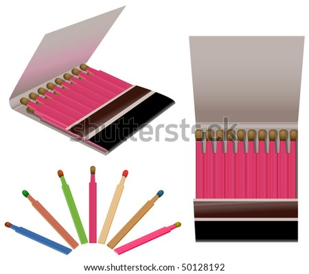 Vector matchbooks and a set of colorful matchsticks - stock vector
