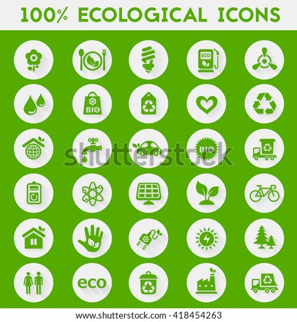 Vector material design green ecological icons collection