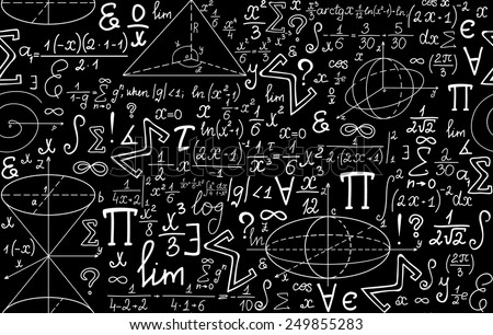Vector mathematical seamless texture with various mathematical signs, figures and calculations