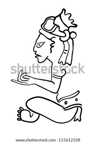 Vector Maya Image of the ancient Deity - stock vector