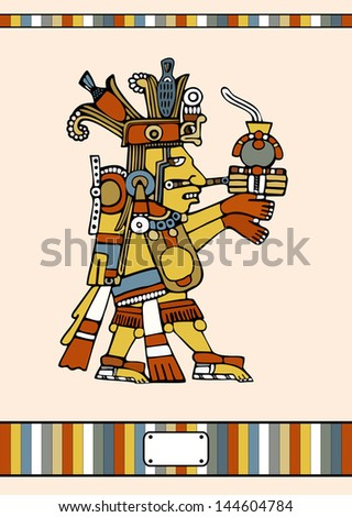 Vector Mayan Indian - stock vector