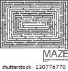 vector maze concept made of small black dots and place for text isolated on white background - stock photo