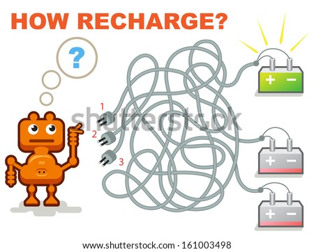 Vector Maze Game: Funny Robot Need Recharge his Battery. Help for him Understand where is Available Cable. - stock vector