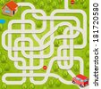 Vector maze game: red car find the way to home - stock vector
