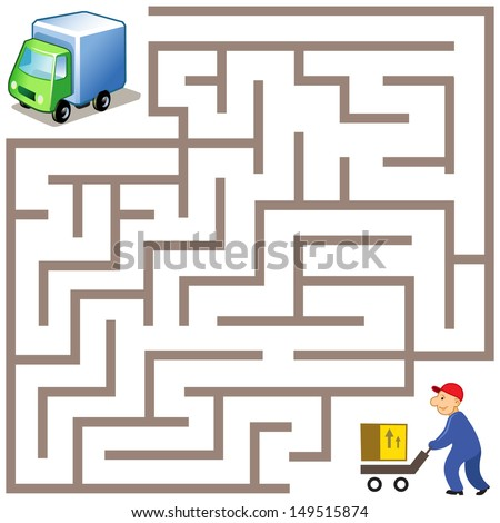 Vector Maze game: way for delivery the box to funny truck - stock vector