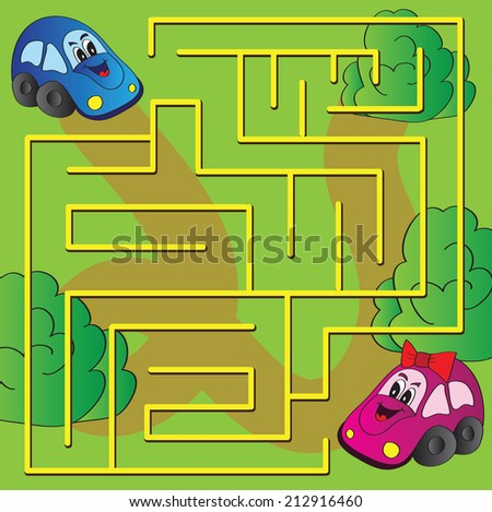 Vector maze game with funny cars  - stock vector