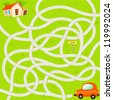Vector Maze Game with Funny Red Car and Road to House. Vector Illustration - stock vector