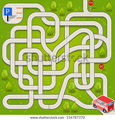 Vector Maze Game with Red Car and Complicated Way to the Parking. Tangled Road in the Forest