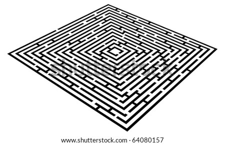 Vector Maze isolated on white - stock vector