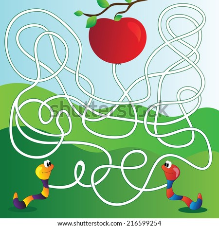 Vector Maze, Labyrinth education Game for Children with apple and worm - stock vector