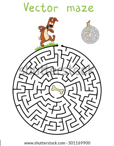 Vector Maze, Labyrinth education Game for Children with Dog and Bone. - stock vector