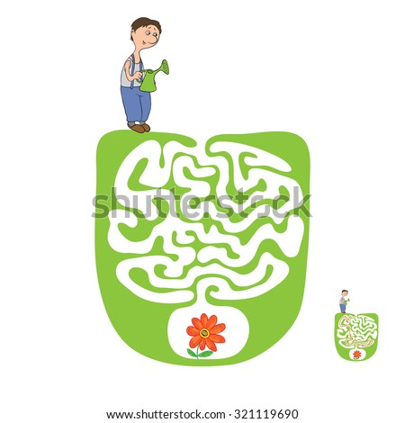 Vector Maze, Labyrinth education Game for Children with Gardener and Plant. - stock vector