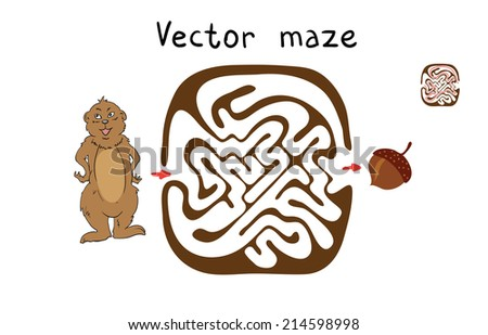 Vector Maze, Labyrinth education Game for Children with Marmot and Nut. - stock vector