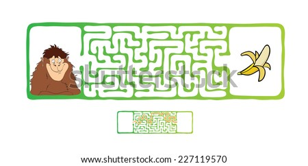 Vector Maze, Labyrinth education Game for Children with Monkey and Banana. - stock vector