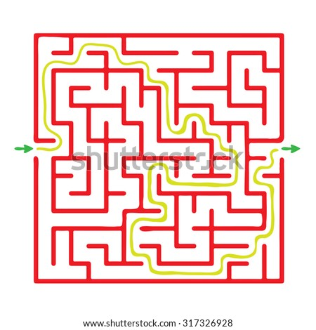 Vector maze, red labyrinth illustration - stock vector