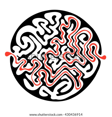 Vector maze, round labyrinth illustration with solution. - stock vector