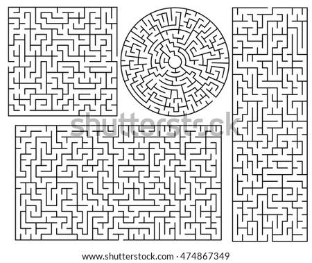 Vector Maze Templates Circle Square Labyrinth Stock Vector 474867349 ...