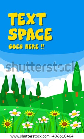 vector meadow illustration with tall tree and flower including blue sky as text space - stock vector