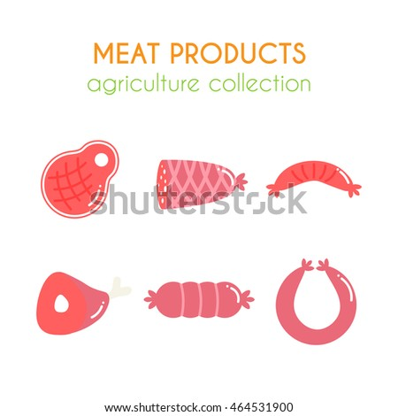 Vector meat products illustrations. Sausages and ham design. Cartoon slice of steak. Barbecue set. Pork and beef meat elements. Flat agriculture collection.
