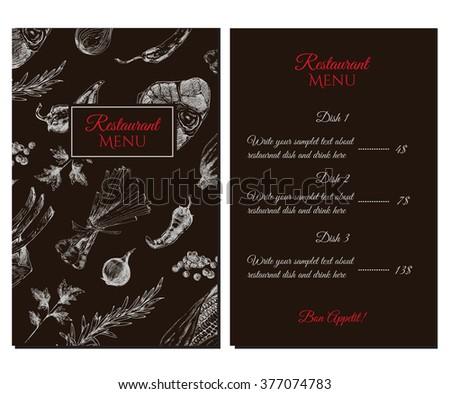 vector meat steak drawing restaurant menu stock vector royalty free