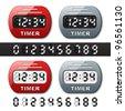 vector mechanical counter - countdown timer - stock vector
