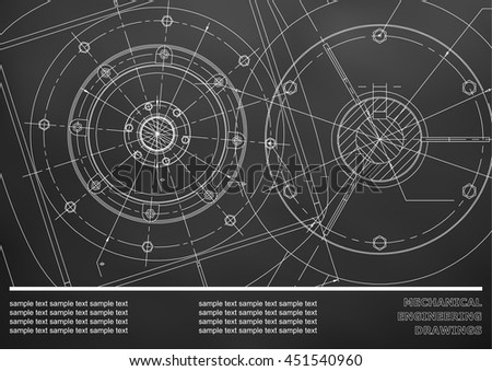 Vector Mechanical engineering drawings on a black background. Cover, Background for inscription labels. Corporate Identity