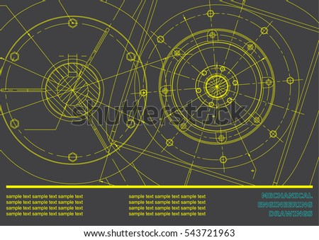 Vector Mechanical engineering drawings on a gray background. Background for inscription