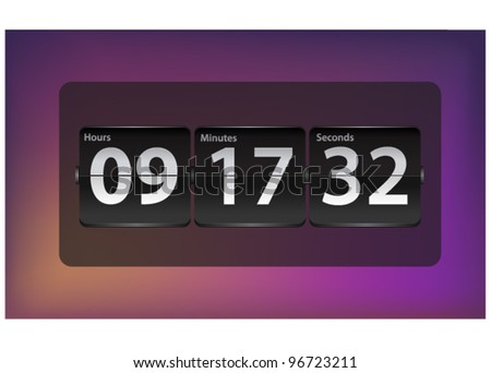 Vector mechanical flip board ( Countdown timer ) - stock vector