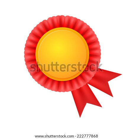 Vector medal, realistic golden label with red ribbons