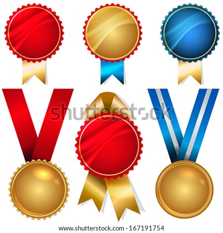 Vector medals and badges set - metallic with ribbons - stock vector