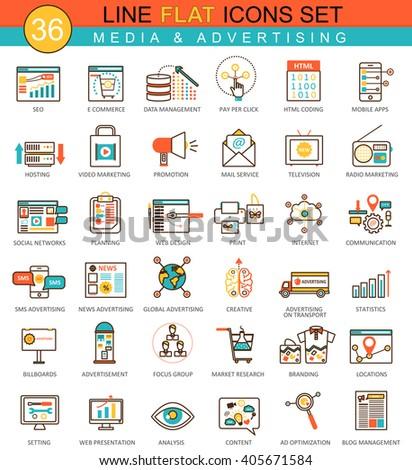 Vector media advertising flat line icon set. Modern elegant style design  for web. Media advertising icons, Media advertising icons, Media advertising icons, Media advertising icons, Media icons - stock vector