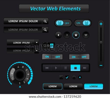 Vector media blue player interface - stock vector