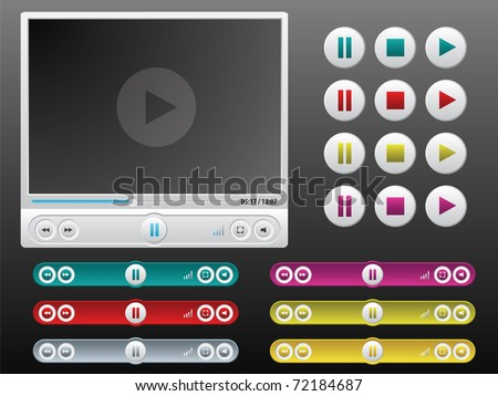 vector media player with extra controls in different colors - stock vector