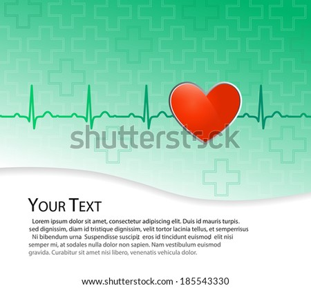 Vector medical background. Red heart on blue and green background with EKG line.. Place for your text.