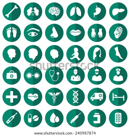 vector medical icon illustration, medicine set, hospital care symbol  - stock vector