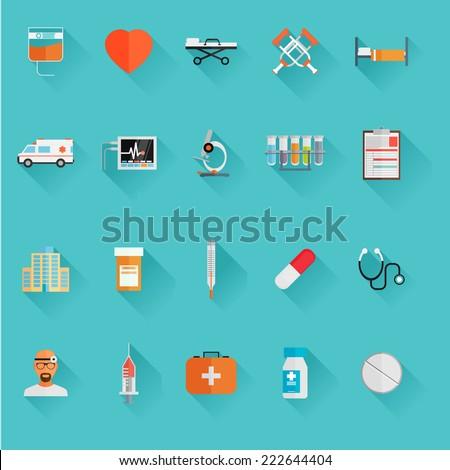 Vector Medical Icons 20 Set. Flat vector  - stock vector