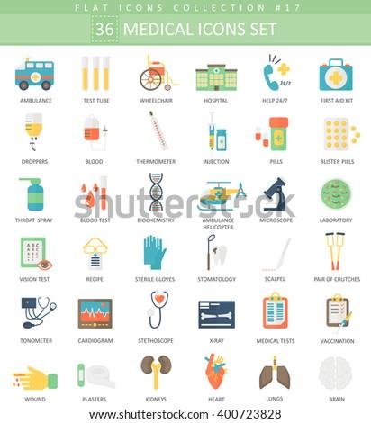 Vector Medical medicine science color flat icons set. Elegant style design. - stock vector