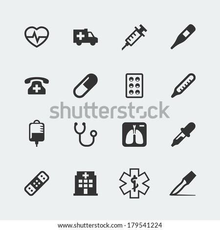 Vector medical mini icons set - stock vector
