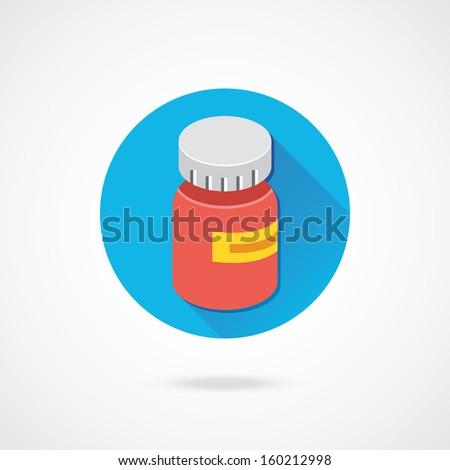 Vector Medical Pill Bottle Icon - stock vector