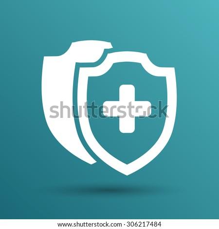 Vector Medical Shield Icon shield flat health cross medical. - stock vector