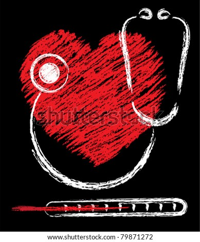 vector medical sketch of heart, stethoscope and thermometer - stock vector