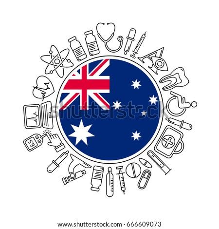 Vector Medicine Health Australia Design Round Stock Vector Hd