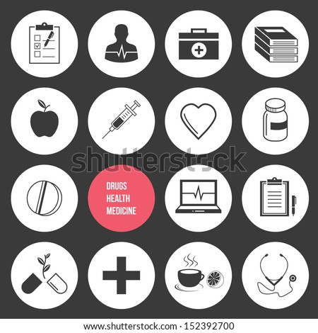 Vector Medicine Health and Drugs Icons Set - stock vector