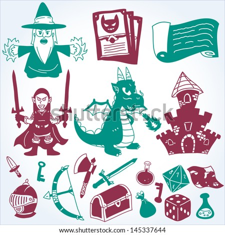 Vector Medieval Epic Fantasy Silhouettes Set - Graphic elements to embellish your layout. Vector file editable, scalable and easy color change. You can use the background or isolated elements. - stock vector