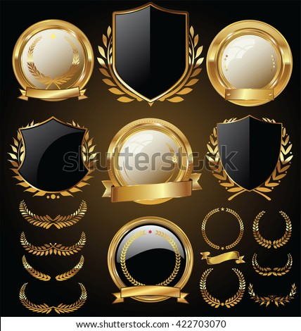 Vector medieval golden shields laurel wreaths and badges collection - stock vector