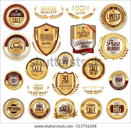 Vector medieval golden shields laurel wreaths and badges collection
