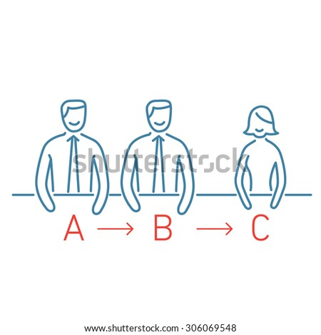Vector meeting management skills icon | modern flat design soft skills linear illustration and infographic on blue background - stock vector