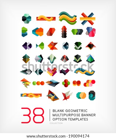 Vector mega collection of geometric web boxes 38 items. Corporate abstract business templates. For brochure, presentation, web background, print production - stock vector
