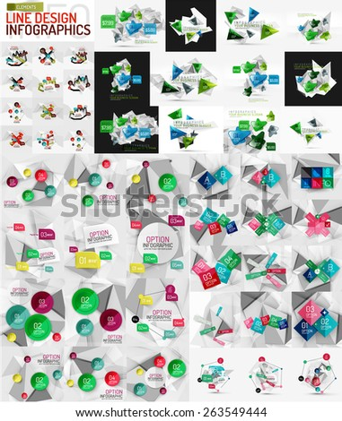 Vector mega set of modern business infographic templates made of abstract geometric shapes. Option banners collection - stock vector