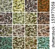 Vector Mega Set of 16 Seamless Background Camouflage Pattern - stock photo